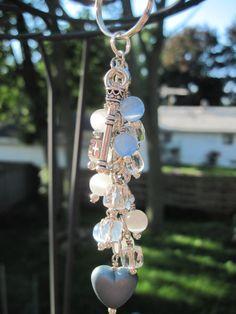 Blue White and Clear Glass Bead Purse Charm / Key Chain / Car Mirror Dangle by FoxyFundanglesByCori, $10.00