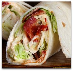 BLT wrap-This was a good low-carb . Try using turkey bacon and low fat mayo to make  this wrap even more healthy