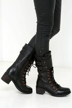 Report Signature Fenner Black Leather Mid-Calf Combat Boots at Lulus.com!