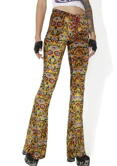 2e7783ade5 Current Mood Lace-Up Flower Velvet Bell Bottoms Yellow