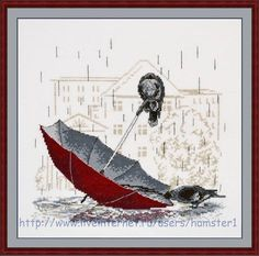 """Sad Umbrella"" counted cross-stitch kit by Oven ( Cross Stitch Gallery, Cross Stitch Bird, Cross Stitch Animals, Cross Stitch Designs, Cross Stitching, Cross Stitch Embroidery, Cross Stitch Patterns, Crow Art, Bird Art"