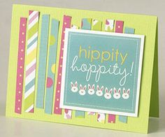 This large sticker could have stood alone on this card, but Melissa felt as if something was missing. She trimmed her leftover patterned-paper scraps into uneven strips and layered them to create a vertically striped background.