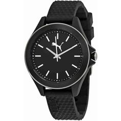Puma Diamond Sports Black Dial Ladies Watch (45 CAD) ❤ liked on Polyvore featuring jewelry, watches, analog watches, sport logo watches, quartz movement watches, bezel watches and sport watches