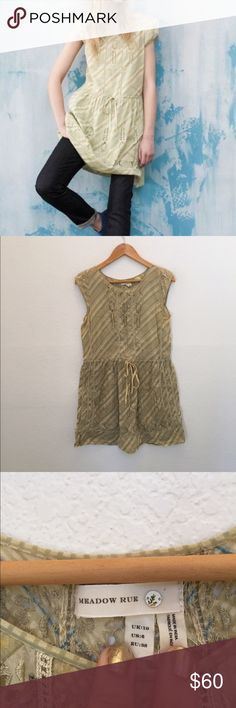 "Anthropologie ""konza dress"" Anthropologie Meadow Rue Kanza Eyelet Dress. Pale green stripes. Tie waist. Pullover Styling.. 100% cotton. Anthropologie Dresses"