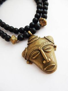 African Mask Necklace Afrocentric Men Jewelry Black Ethnic Brass by TheBlackerTheBerry