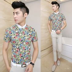 85aa6de26 Wholesale 2014 Mens Slim Fit Floral Shirts Fabulous Design Real Model  Picture Summer Men Tops $24.88