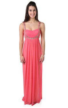 Deb Shops #coral beaded stone #prom #dress with empire waist and baby doll accent design