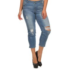 Emperial Premium Medium Blue Distressed Crop Jeans ($20) ❤ liked on Polyvore featuring plus size women's fashion, plus size clothing, plus size jeans, plus size, torn jeans, destructed jeans, distressed cropped jeans, blue jeans and cropped jeans