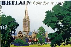 BRITISH WW II.scene of the British countryside intending to inspire patriotism during World War two 1940 the view is of Salisbury Cathedral designed by Frank...17