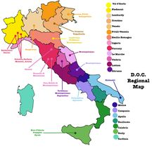 italy map of region   Map of Italy indicating the different DOC wine regions. Piedmont is ...