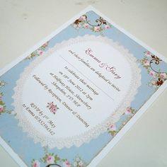 Vintage Rose Frame Wedding Invitations