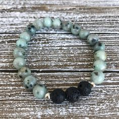 Essential Oil Diffuser Bracelet with Kiwi Jasper and Lava Rock