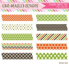 Pumpkin Harvest Washi Tape Clipart Commercial Use Graphics
