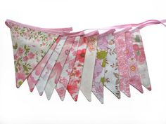 Vintage Retro Pink MULTI Floral Flag Bunting. Shabby Chic, Party Decoration  Wall hanging, Parties, Party, Wedding etc via Etsy