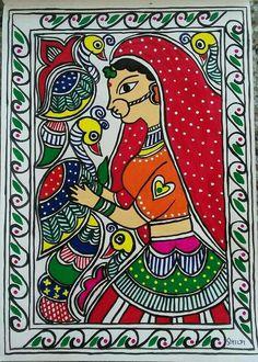 Madhubani art lady with birds