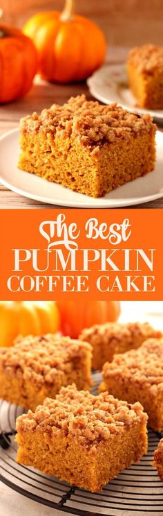 The Best Pumpkin Coffee Cake - absolutely irresistible pumpkin cake! The cake is tender and moist and the crumb topping is sweet and crunchy thanks to crushed graham crackers!