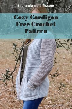 Come make this cozy cardigan using the free pattern on The Hook Nook Like Blog today! Make with buoy weight yarn this sweater with pockets is sure to be your new favorite! Diy Crochet Patterns, Crochet Cardigan Pattern, Craft Patterns, Easy Crochet, Free Crochet, Diy Crafts List, Foundation Single Crochet, Cardigan Design, Crochet Woman