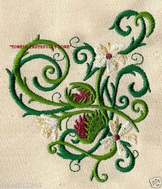 VENUS FLY TRAP PLANT FLOWERS - 2 EMBROIDERED HAND TOWELS by Susan