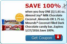 FREE Almond Joy Milk Chocolate OR Mounds Candy Bar - http://ift.tt/1PNZkEF