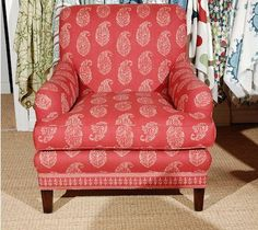 Tea/Red Kashmir Paisley covered vintage chairs ~ Hollywood at Home in Los Angeles Furniture, Farmhouse Table Chairs, Accent Chairs For Living Room, Upholstered Dining Chairs, Tufted Furniture, Chairs For Small Spaces, Chairs For Sale, Balcony Table And Chairs, Casual Living Room Furniture