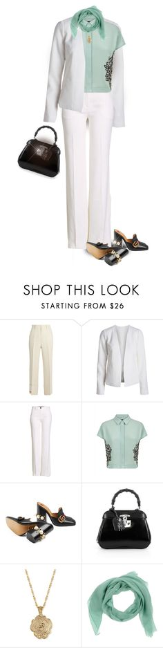 """Gucci bag, shoes and scarf"" by shanasark ❤ liked on Polyvore featuring Gucci, Roberto Cavalli, Jaeger and 2028"