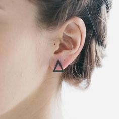 Oxidised silver triangle earring studs