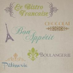 Stencils for French words and patterns