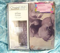 "CHAPEL HILL ~ CROSCILL Fabric Shower Curtain ~ ""DAHLIA II"" ~ SHADES OF LAVENDER $22.00"