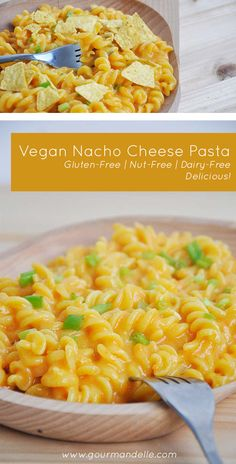 This vegan nacho cheese pasta is a gluten-free comfort recipe you'll want to make again and again! You'll love the nut-free, dairy-free nacho cheese sauce!  | www.gourmandelle.com