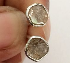 Light Brown Slice Rough Diamond Studs Diamond by gemsforjewels