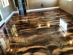 Epoxy Floor Diy, Epoxy Floor Basement, Epoxy Resin Flooring, Painting Basement Floors, 3d Flooring, Metallic Epoxy Floor, Unique Flooring, Concrete Countertops, Epoxy Concrete