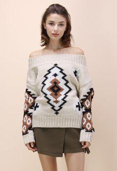 Aztec Dreams Off-shoulder Sweater