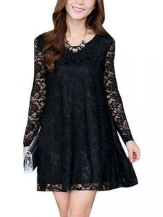 Plus Size Lace Patchwork Casual Long Sleeve Loose Dress - Newchic Fashion Dress
