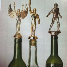 Ever wonder what to do with all your high school trophies- make them into wine stoppers! Great idea