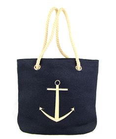 Navy Rope Handle Anchor Tote