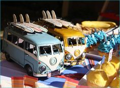 "Great VW Surfer Vans on the table at Kate, ""I Love Parties"" feature of her Retro Surfer Birthday on Hostess with the Mostess"
