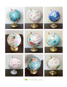 CUSTOM Painted Globe, made-to-order. Perfect unique gift, decor or guestbook! Weddings   Baby Shower   Birthday   Graduation by Limefish Studio - limefishshop on etsy