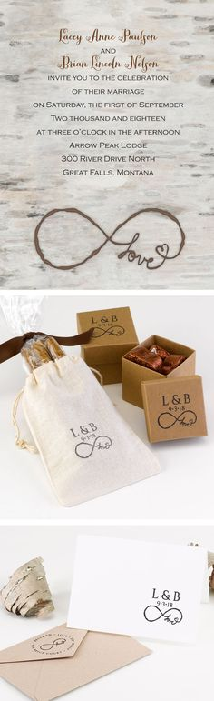 Rustic infinity themed wedding invitation with matching stamps. #infinity #rusticwedding #invitationsbydawn