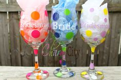 Bridal Party Gift Personalized Wine Glass 20 oz Bridal Party wedding  by ahindle78 on Etsy https://www.etsy.com/listing/151403442/bridal-party-gift-personalized-wine