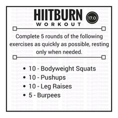 """268 Likes, 26 Comments - ☀️Lifestyle Fitness (@hiitburn) on Instagram: """"17.0 - Full Body! New series starting today! As is true with all of the workout series, the 17s…"""""""