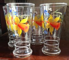 Rare! Vintage Dema? 1970s Hand Painted Daffodil Floral Glass Tumblers x 4 Exc!
