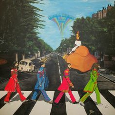 The Beatles Sgt Peppers Walk On Abby Road Painting