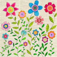 Bohemian Flowers, Flower Collage, Mixed Media Flower Painting by Sascalia