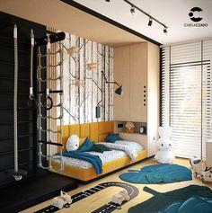 Pokój dla chłopca na poddaszu 13 m kw. Styl nowoczesny. | Teen Bedroom Designs, Boys Bedroom Decor, Home Bedroom, Design Hall, Cool Kids Rooms, Kids Room Design, Boy Room, Baby, Home Climbing Wall