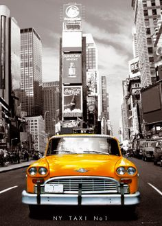 I really like the perspective of the taxi with Times Square on the back, the yellow color gives a nice touch to the view