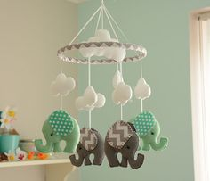 Nursery Mobile  Elephant Mobile Mint Green Grey by FlossyTots
