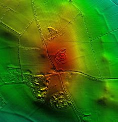 Some of the concentric rings on the Hill of Ward, seen here in a lidar image, were partially destroyed, perhaps by the army of Oliver Cromwell in 1649.