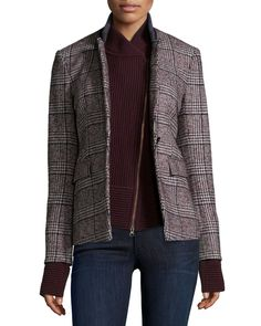 Cutaway Stand-Collar Jacket with Upstate Knit Dickey, Plaid/Bordeaux, Women's, Size: 4, Multi - Veronica Beard