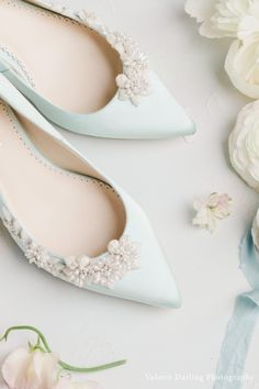 Flat Bridal Shoes, Bridal Flats, Ballerina Shoes and Sandals for Wedding | OneFabDay.com Ireland Best Bridal Shoes, Bridal Sandals, Blue Wedding Shoes, Wedding Flats, Wedding Ring, Dream Wedding, Wedding Attire, Wedding Dresses, Something Blue Bridal