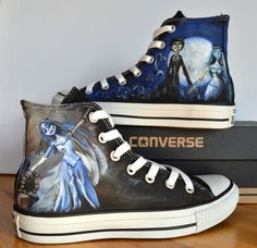 Custom Hand Painted Converse Shoes Corpse Bride by BeressyArt